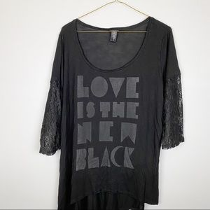 """Torrid 3 """"Love Is New Black"""" Raglan Lace Top"""